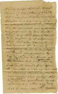 """(Nineteenth Century Medicine) Autograph Document Signed """"F. J. Bailey"""", two pages, 8 x 13 inches, [no place, n..."""
