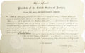 "Autographs:U.S. Presidents, Ulysses S. Grant unusual partly printed Document Signed ""U.S.Grant"" as President in violet ink, one page, 18 x 11 i..."