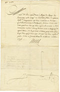 "Autographs:Non-American, Louis XIV of France, Document Signed ""Louis"" as king, twopages in French (front and verso) 9.75"" x 14.75"", October 9, 1..."