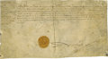"Autographs:Non-American, Henry IV of France Document Signed ""Henri"" as king, twopages (front and verso) in French, 12.5"" x 6.75"", on vellum, Ap..."