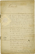 "Autographs:Non-American, Queen Victoria Document Signed ""Victoria R"" as queen, eightpages (front and verso), 9.5"" x 14.75"", December 16, 1837, S..."