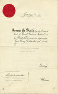 """Autographs:Non-American, George VI Document Signed """"George RI"""" as king-emperor, fourpages (front and verso), 8.5"""" x 13.5"""", January 6, 1939, Sand..."""