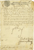 "Autographs:Non-American, Philip IV of Spain Document Signed ""Yo El Rey"" as king, onepage in Spanish, 8.25"" x 12"", October 1739, Madrid. Philip ..."
