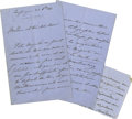 """Autographs:Non-American, Eugénie of France Autograph Letter Signed """"Eugénie"""" as queento Queen Sophia of the Netherlands, eight pages (front and ...(Total: 3 )"""