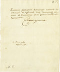 "Autographs:Non-American, Catherine II of Russia Document Signed ""Catherine"" as empress, one page in Russian, 7.5"" x 9"", May[?] 17, 1768, Tsarskoy..."