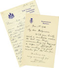 "Autographs:Non-American, Lot of Two British Royalty Autograph Letters Signed King George V,""George"" and ""George P"" as Prince of Wales, one p...(Total: 2 )"