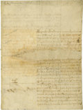 "Autographs:Non-American, Christina of Sweden Document Signed ""Christina Alexandra""two pages (front and verso) in Spanish, 1656, Rome. Christina ..."