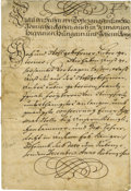 """Autographs:Non-American, Charles VI Document Signed """"Charles"""" in gold ink as HolyRoman Emperor, four pages in German, 8"""" x 12"""", March 29, 1712,..."""