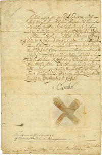 """Charles XI of Sweden Document Signed """"Carolus"""" as king, two pages (front and verso), 8"""" x 11.25"""", Ap..."""