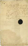 "Autographs:Non-American, Charles XII of Sweden Document Signed ""Carolus"" as king,page, 8"" x 12.75"", August 11, 1716., n.p., with full wax seal...."