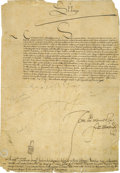 "Autographs:Non-American, Philip II of Spain Document Signed ""Yo El Rey"" as king, onepage in Spanish to a prince, 8.25"" x 11.75"", May 21, 1578. ..."