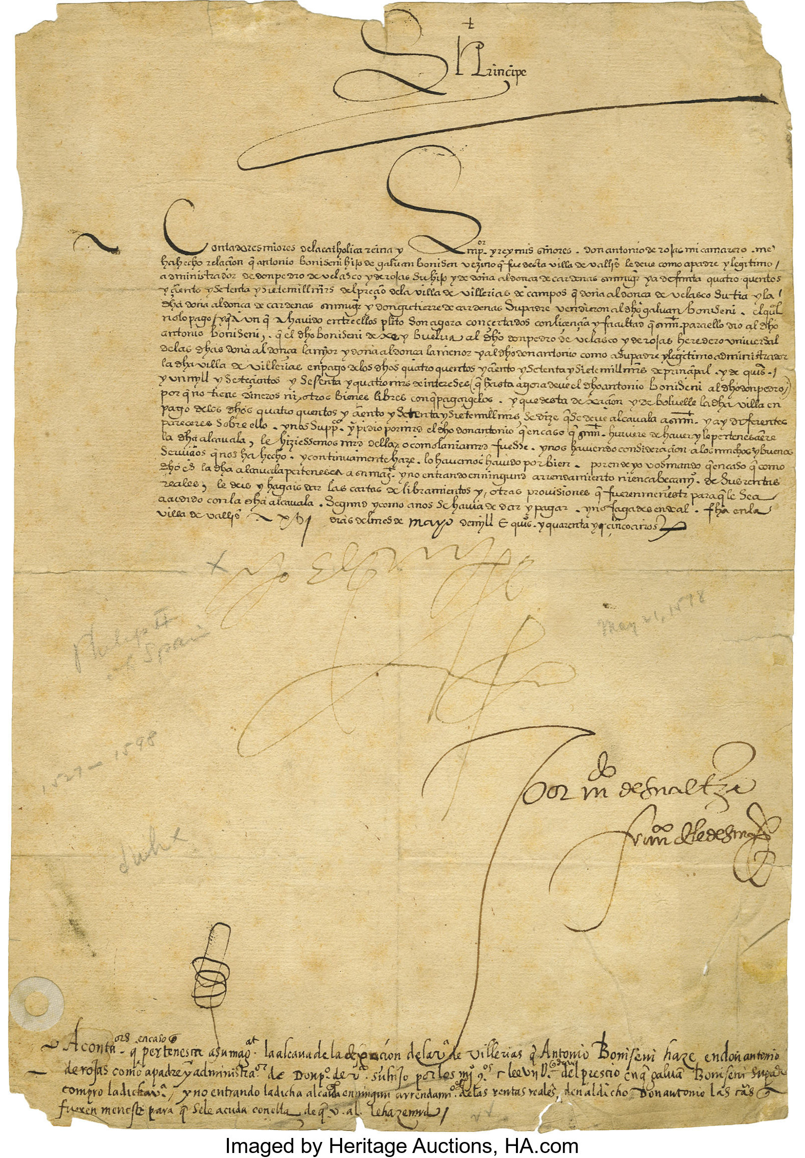 Philip II Of Spain Document Signed Yo El Rey As King One
