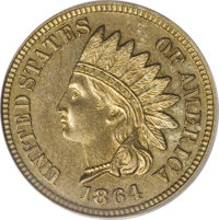 1864 1C Indian Cent / 1858 Flying Eagle Cent Mule, Judd-362, Pollock-428, High R.7, PR62 PCGS. A mule that combines the...