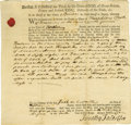 """Autographs:Statesmen, Declaration Signer Robert Treat Paine Document Signed, partiallyprinted, two pages, 8"""" x 8"""", Taunton, Massachusetts, August..."""