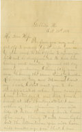 "Autographs:Celebrities, Frank James Autograph Letter Signed to His Wife Annie ALS""Ben"" (his alias, B.J. Woodson), 4pp., 5"" x 8"", Gallatin,Miss..."