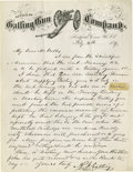 "Autographs:Celebrities, R. J. Gatling Autograph Letter Signed, on ""Office of Gatling GunCompany"" letterhead (which includes an engraving of a Gatli..."