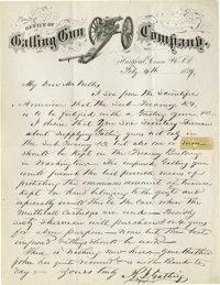 """R. J. Gatling Autograph Letter Signed, on """"Office of Gatling Gun Company"""" letterhead (which includes an engrav..."""