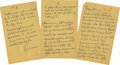 """Autographs:Inventors, Thomas A. Edison Autograph Letter Signed """"Edison"""", three pages, 5"""" x 8"""", n.p., n.d. Addressed to """"Fagan"""" and """"Blai... (Total: 2 )"""