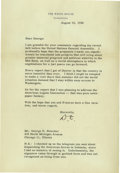 """Autographs:U.S. Presidents, President Dwight D. Eisenhower Very fine content Typed Letter Signed """"D.E."""" as President, one page, 7 x 10.25 inches..."""