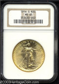 Saint-Gaudens Double Eagles: , 1916-S $20 MS65 NGC. Boldly struck and highly lustrous ...