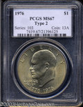 Eisenhower Dollars: , 1976 $1 Type Two MS67 PCGS. Even hues of golden patina ...