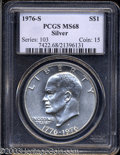 Eisenhower Dollars: , 1976-S $1 Silver MS68 PCGS. Fully struck and brilliant, ...