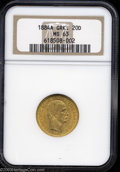 George I gold 20 Drachmai 1884, KM56, MS63 NGC. Very scarce in this grade!...(PCGS# 1043)
