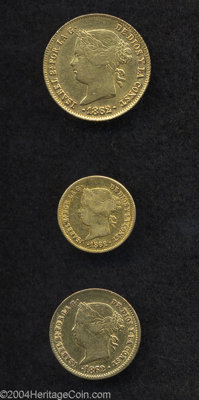 Isabel II gold Type Set 1862, three coins including: KM142 Peso, VF luster, KM143 2 Pesos, AVF cleaned and KM144, VF wit...