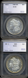 Additional Certified Coins: , 1881-S $1 Morgan Dollar MS64 Deep Mirror Prooflike SEGS (... (2coins)