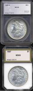 Additional Certified Coins: , 1890-S $1 Morgan Dollar MS65 SEGS (MS64), well struck ... (2 coins)