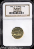 Modern Issues: , 1995-W Olympic/Stadium Gold Five Dollar MS70 NGC. ...