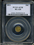 California Fractional Gold: , 1853 Liberty Round 50 Cents, BG-430, R.3, AU58 PCGS. ...