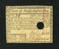 Colonial Notes:Massachusetts, Massachusetts May 5, 1780 $2 with low number New....