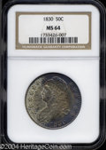 Bust Half Dollars: , 1830 50C Large 0 MS64 NGC.