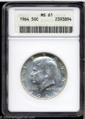 Kennedy Half Dollars: , 1964 MS64 ANACS. ...