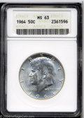 Kennedy Half Dollars: , 1964 MS63 ANACS. ...