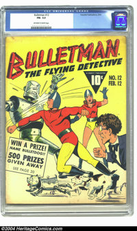 Bulletman #12 (Fawcett, 1943) CGC FN- 5.5 Off-white to white pages. Robot cover. To date, only one copy of this issue ha...