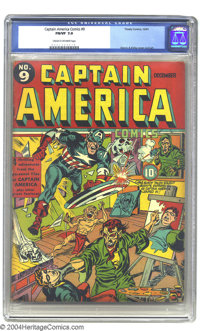 Captain America Comics #9 (Timely, 1941) FN/VF 7.0 Cream to off-white pages. Simon & Kirby cover and art. Only three...