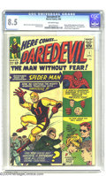 Silver Age (1956-1969):Superhero, Daredevil #1 (Marvel, 1964) CGC VF+ 8.5 Off-white pages. Origin andfirst appearance of Daredevil. First appearance of Karen...
