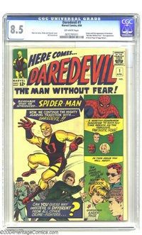 Daredevil #1 (Marvel, 1964) CGC VF+ 8.5 Off-white pages. Origin and first appearance of Daredevil. First appearance of K...
