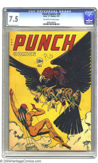 """Punch Comics #20 (Chesler, 1947) CGC VF- 7.5 Off-white to white pages. Notorious bare-breasts cover. Gerber """"uncomm..."""