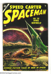 Spaceman #1 (Atlas, 1953) Condition: VG. Grey tone cover by Bill Everett. Russ Heath, Joe Maneely, and John Romita Sr. a...