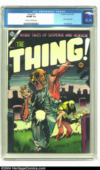 The Thing! #16 (Charlton, 1954) CGC VF/NM 9.0 Cream to off-white pages. Injury to eye panel. Dick Ayers art. Overstreet...