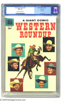 Western Roundup #18 File Copy (Dell, 1957) CGC NM- 9.2 Cream to off-white pages. Last Photo cover. Gene Autry ends. Alex...