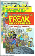 """Bronze Age (1970-1979):Alternative/Underground, Freak Brothers Group (Rip Off Press, 1984-97) Condition: Average NM. Issues #8 (""""The Idiots Abroad"""" part one, full color), #... (Total: 5 Comic Books Item)"""