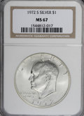 Eisenhower Dollars: , 1972-S $1 Silver MS67 NGC. NGC Census: (700/317). PCGS Population (4424/1299). Mintage: 2,193,056. Numismedia Wsl. Price fo...