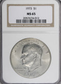 Eisenhower Dollars: , 1973 $1 MS65 NGC. NGC Census: (315/18). PCGS Population (756/72). Mintage: 2,000,056. Numismedia Wsl. Price for NGC/PCGS co...
