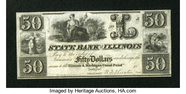 Obsoletes By State Illinois Lockport Il Bank Of 50 18