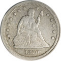 Seated Quarters, 1870-CC 25C --Corroded, Cleaned--ANACS. VF20 Details....