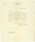 "Autographs:U.S. Presidents, Woodrow Wilson Typed Letter Signed, one page on personalstationery, 8"" x 9.75"", Trenton, New Jersey, October 15, 1912, toM..."